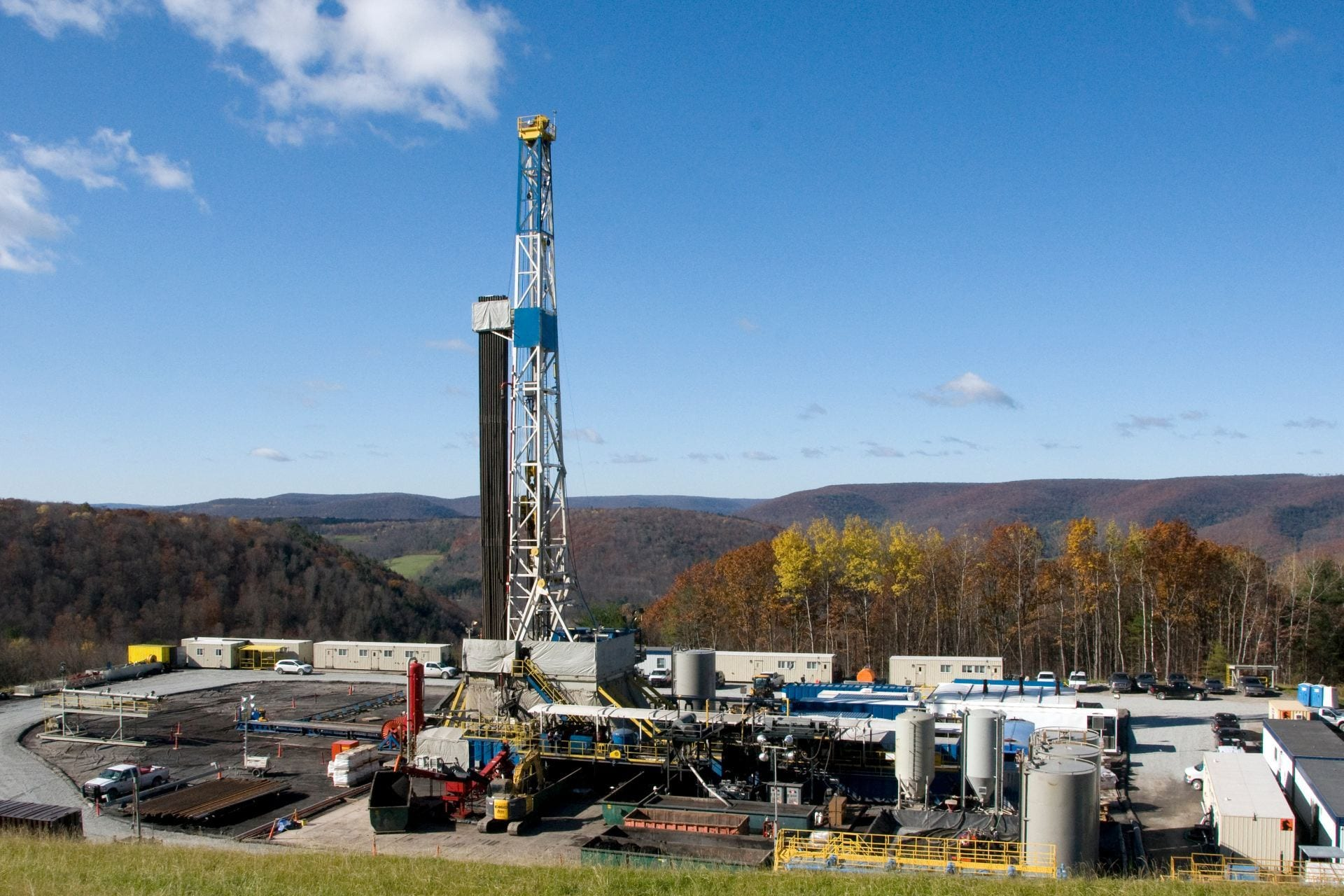 Drill rig on Marcellus wellpad